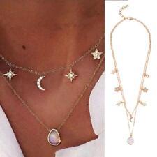 Beauty Rhinestones Pentagram Star Moon Crystal Chain Tassel Necklace Jewelry OC