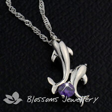 Sterling SILVER Amethyst DOLPHIN Necklace SWAROVSKI Element Purple CRYSTAL F5