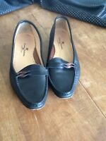 Tommy Bahama 36.5 (US 6.5 M) Black Leather  Loafer Flats