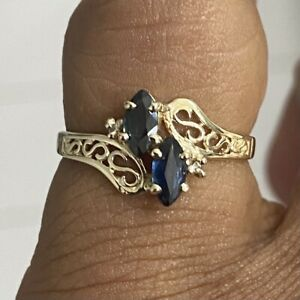 10K Yellow Gold Ladies Sapphire and Diamond  Engagement or Promise Ring sz7