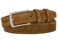Italian Leather Belt  - Real Suede cognac camel beige 34 (avail 34 - 46) 85 cm