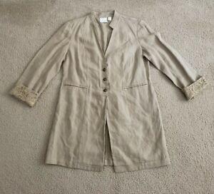 Womens Chicos 100% Linen Duster Blazer Khaki/Beige Size 1 Medium 8