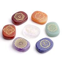 7 Engraved Chakra Stones Crystal Reiki Healing Energy Palm Stone Lapis Lazuli