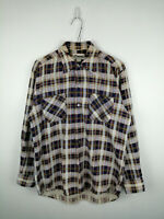VINTAGE MENS FLANNEL SHIRT COMPASS SIZE S MULTI CHECK LONG SLEEVE 100% COTTON US