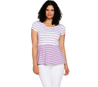 Isaac Mizrahi Live! Striped Short Sleeve Knit Peplum Top Petal Purple Size XL