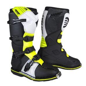 Boots Moto Cross SHOT X10 2.0 Black White Yellow Off Road Enduro Motard Boots