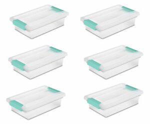 Sterilite Small Clip Box Clear Storage Tote Container with Latching Lid (6 Pack)