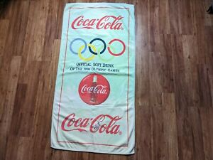 Vintage Coca Cola Towel Adult Unisex Green Official Soft Drink of 1996 Olympics