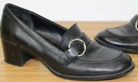 """Predictions Size 6.5 M Black Leather Slip-on 2.5"""" Block Heels Loafers Buckle"""