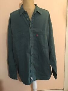 VINTAGE Levis Long Sleeve Metal Button Down Green Shirt Size L By STRAUSS CO VGC