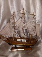 SCHOONEY WOODEN MODEL SAILING SHIP BOAT W/SAILS SMALL NAUTICAL DECOR