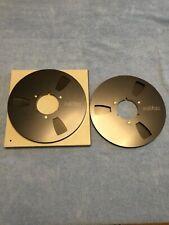 2x ReVox Tape Reel NAB BLACK / SCHWARZ ALU ORIGINAL Ø26cm /Tonbandspule+Schuber