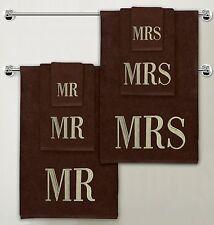 Luxe 100% coton mr & mrs monogramme serviette de bain mariage 6 pièces cadeau bale set