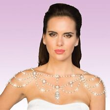 Rhinestone & Glass pearl drops Shoulder Necklace Deluxe STATEMENT NEW MRP $130
