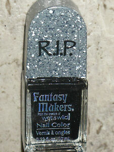 NEW WET N WILD RIP FANTASY MAKERS NAIL IN THE COFFIN POLISH BLACK SPARKLY 10ML