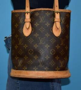 Vintage LOUIS VUITTON Monogram BUCKET Tote Carryall Shoulder Purse Bag USA