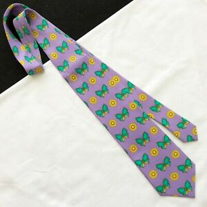 GIANNI VERSACE silk tie Butterfly print violet green & gold from ss 1995