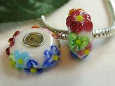 2pc Pretty Colorful Spring Flower Murano Charm For European Big Hole Jewelry USA