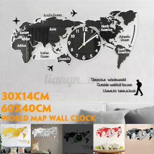 3D World Map Wall Clock Modern Design Digital Hanging Clock Quiet Acrylic