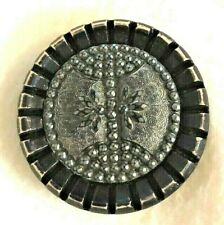 Black Glass Set in Black Button, X-lrg