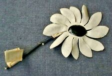 Antique 1930'S Millinery Suede Celluloid Cream Flower Applique Germany Unused