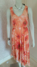 KALEIDOSCOPE ORANGE SEQUIN ASYMMETRICAL HEM CHIFFON DRESS SZE12,14 & 6 CLEARANCE