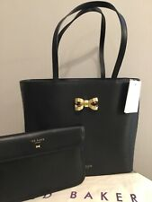 Ted Baker LARAH Bow Detail Leather Shopper Bag Black With Clutch Bag BNWTS