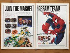 Marvel Comics Spider-Man X-Men SNES Sega Genesis 1993 Vintage Poster Ad Art Rare