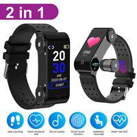 2 in 1 Smart Watch + TWS Bluetooth 5.0 Wireless Headset Earbuds Sports Earphone
