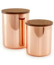 Martha Stewart Collection Set of 2 Heirloom Copper Plated Canisters Containers