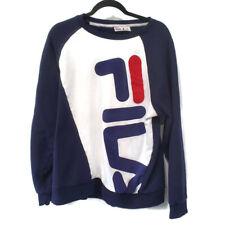FILA Spell Out Big Logo Long Sleeve Navy Blue Mens Crew Neck Sweatshirt XXL 2XL