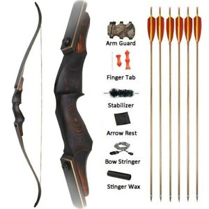 "60"" Takedown Recurve Bow Arrows Kit 25-60lbs Archery Wooden American Hunting Bow"