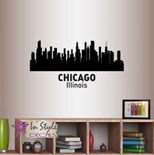 Wall Vinyl Decal Chicago Illinois Skyline City USA Room Decor Sticker 1268