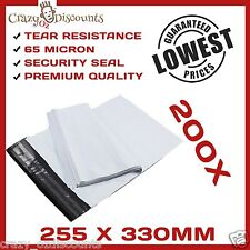 200 PLASTIC POLY COURIER BAG MAILER MAILING SATCHEL POST BAG PLASTIC 255X330MM