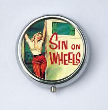 Sin On Wheels PILL CASE PILLBOX holder retro rockabilly punk pinup DIY