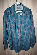 Pendleton High Grade Western Wear Pearl Snap WOOL Shirt Plaid Long Sleeve XL