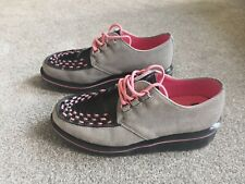 Dr Martens Beck UK Size 5 Women's Grey Pink Creepers Fantastic Condition