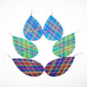 Lady 1.7'X3'' Big Water Drop Shaped Colorful Thread Wood Drop Dangle Earrings