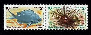 NEW ZEALAND -Scott# B104a - SG# 1197a - 1979 - Horizontal Pair - Marine Life-MNH