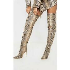 Women High Heel Over The Knee Thigh High Boots Pointy Toe Snake Print Shoes Club