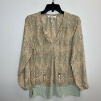 Women's Rose+Olive Paisley Multicolor Long Sleeve Blouse Size Medium