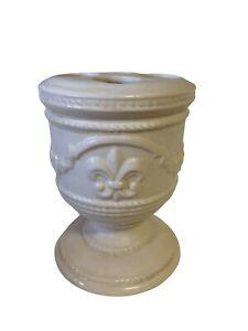 Fleur de lis beige ceramic toothbrush holder bath accessories Decor