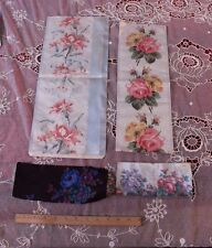 4 French Victorian Rose Silk Large Ribbon Samples c1870~Frame,Design,Collectors