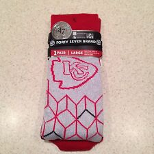 NEW FORTY SEVEN BRAND UNISEX KANSAS CITY CHIEFS MOISTURE WICKING CREW SOCKS