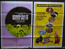 BIRDS DO IT BEES DO IT 1975 2 ORIGINAL 1 SHEET MOVIE POSTERS STYLE A AND B