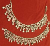 """Pakistani Bollywood pair anklet ankle bracelet silver bells Indian jewelry 10"""""""