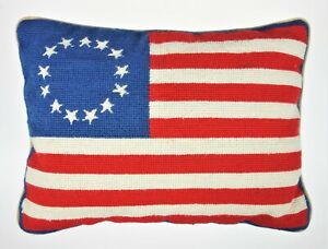Betsy Ross American Flag Colonial USA Needlework Throw Pillow Stars Stripes