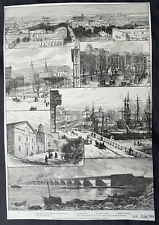1884 ILN Original Antique Page six View of Montreal, Canada