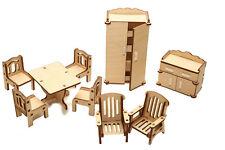 9 Pcs Set Dollhouse Miniature Sitting Room Furniture Wooden Model Kit, Russia
