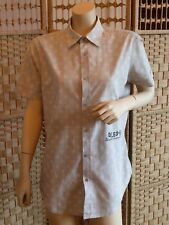 """mens shirt diesel size large grey short sleeved 16"""" collar good condition"""